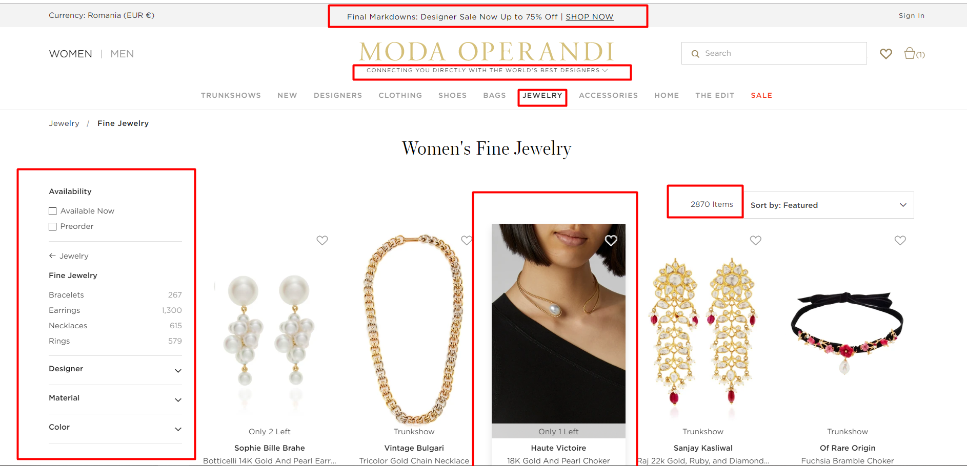 Jewellery Website Designer